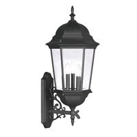 Hamilton 3 Light 30 inch Black Outdoor Wall Lantern in Clear Beveled