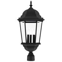 Livex 7568-14 Hamilton 3 Light 28 inch Textured Black Outdoor Post Top Lantern