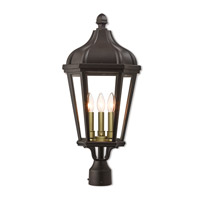 Livex 76194-07 Morgan 3 Light 25 inch Bronze Outdoor Post Top Lantern