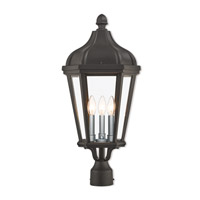 Livex 76194-14 Morgan 3 Light 25 inch Textured Black Outdoor Post Top Lantern