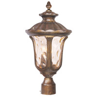 Livex Lighting 7659-50 Oxford 3 Light 22 inch Moroccan Gold Outdoor Post Top Lantern