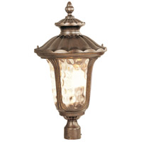 Livex 7664-50 Oxford 3 Light 27 inch Moroccan Gold Outdoor Post Head