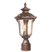 Livex 7667-50 Oxford 1 Light 16 inch Moroccan Gold Outdoor Post Head in Hand Blown Light Amber Water photo thumbnail