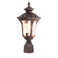 Livex 7667-58 Oxford 1 Light 16 inch Imperial Bronze Outdoor Post Head in Hand Blown Light Amber Water