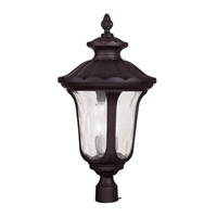 Livex 7864-07 Oxford 3 Light 27 inch Bronze Outdoor Post Head