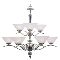 Nouveau 9 Light 33 inch Brushed Nickel Chandelier Ceiling Light