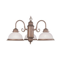 Livex Lighting Home Basics 3 Light Chandelier in Weathered Brick 8103-18