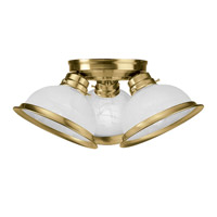 Livex Lighting Home Basics 3 Light Ceiling Mount in Antique Brass 8108-01