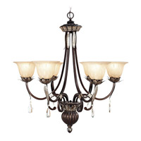 Livex Lighting Orleans 6 Light Chandelier in Hand Rubbed Bronze with Antique Silver Accents 8146-40