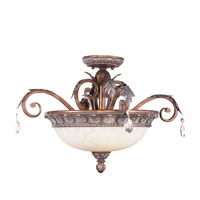 Livex Lighting Iron and Crystal 3 Light Ceiling Mount in Crackled Bronze with Vintage Stone Accents 8150-17