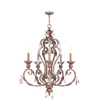 Livex Iron and Crystal 5 Light Chandelier in Crackled Bronze with Vintage Stone Accents 8155-17