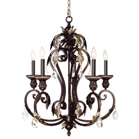 Livex Lighting Iron & Crystal 5 Light Chandelier in Hand Rubbed Bronze with Antique Silver Accents 8155-40