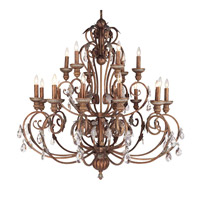 Livex Lighting Iron and Crystal 18 Light Chandelier in Crackled Bronze with Vintage Stone Accents 8159-17