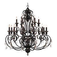 Livex Lighting Iron & Crystal 18 Light Chandelier in Hand Rubbed Bronze with Antique Silver Accents 8159-40
