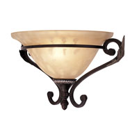 Livex Lighting Iron and Crystal 1 Light Wall Sconce in Hand Rubbed Bronze with Antique Silver Accents 8160-40