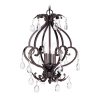 Livex Lighting Iron and Crystal 3 Light Mini Chandelier in Hand Rubbed Bronze with Antique Silver Accents 8164-40