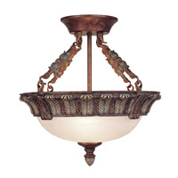 Livex Lighting Signature 3 Light Ceiling Mount in Crackled Bronze with Vintage Stone Accents 8170-17