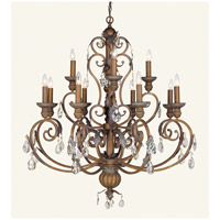 Livex Lighting Iron and Crystal 12 Light Chandelier in Crackled Bronze with Vintage Stone Accents 8179-17