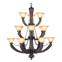 Livex Lighting Florence 15 Light Chandelier in Crackled Leather 8215-32