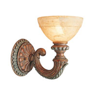 Livex Salerno 1 Light Wall Sconce in Crackled Bronze with Vintage Stone Accents 8241-17