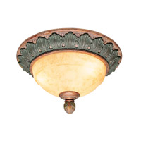 Livex Lighting Salerno 2 Light Ceiling Mount in Crackled Bronze with Vintage Stone Accents 8243-17
