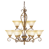 Livex Lighting Bistro 9 Light Chandelier in Venetian Patina 8279-57