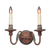 Livex Lighting Monarch 2 Light Wall Sconce in Crackled Bronze with Vintage Stone Accents 8302-17