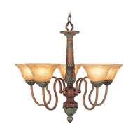 Livex Monarch 5 Light Chandelier in Crackled Bronze with Vintage Stone Accents 8305-17 photo thumbnail