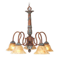 Livex Monarch 5 Light Chandelier in Crackled Bronze with Vintage Stone Accents 8305-17 alternative photo thumbnail