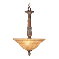 Livex Lighting Monarch 3 Light Chandelier in Crackled Bronze with Vintage Stone Accents 8308-17