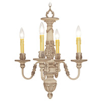 Livex Lighting Monarch 4 Light Chandelier in Crackled Antique Ivory 8324-87