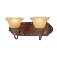 Livex Lighting Monarch 2 Light Bath Light in Crackled Bronze with Vintage Stone Accents 8325-17