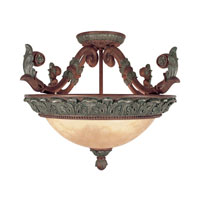 Livex Lighting Monarch 3 Light Ceiling Mount in Crackled Bronze with Vintage Stone Accents 8330-17