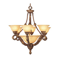 Livex Lighting Drake 9 Light Chandelier in Crackled Greek Bronze with Aged Gold Accents 8396-30