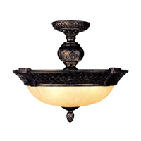 Livex Lighting Arcadia 3 Light Ceiling Mount in Hand Rubbed Bronze with Antique Silver Accents 8403-40