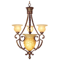 Livex Lighting Drake 4 Light Chandelier in Crackled Greek Bronze with Aged Gold Accents 8413-30
