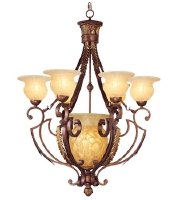 Livex Lighting Drake 7 Light Chandelier in Crackled Greek Bronze with Aged Gold Accents 8416-30 alternative photo thumbnail