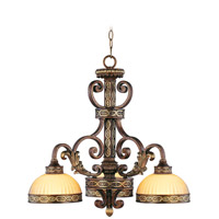 Livex Lighting Seville 3 Light Chandelier in Palacial Bronze with Gilded Accents 8523-64