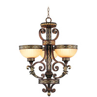Livex Lighting Seville 3 Light Chandelier in Palacial Bronze with Gilded Accents 8524-64