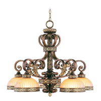 Seville 5 Light 28 inch Palacial Bronze with Gilded Accents Chandelier Ceiling Light