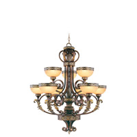 Livex Lighting Seville 9 Light Chandelier in Palacial Bronze with Gilded Accents 8529-64