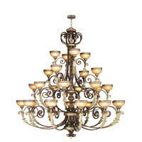 Livex Lighting Seville 24 Light Chandelier in Palacial Bronze with Gilded Accents 8537-64