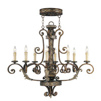 Livex Lighting Seville 8 Light Chandelier in Palacial Bronze with Gilded Accents 8538-64