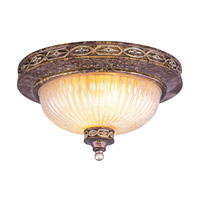 Livex Lighting Seville 3 Light Ceiling Mount in Palacial Bronze with Gilded Accents 8543-64
