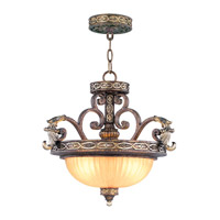Livex Lighting Seville 2 Light Pendant/Ceiling Mount in Palacial Bronze with Gilded Accents 8544-64