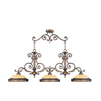Livex Lighting Seville 3 Light Island Light in Palacial Bronze with Gilded Accents 8546-64