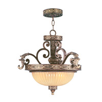 Livex Lighting Seville 3 Light Pendant/Ceiling Mount in Palacial Bronze with Gilded Accents 8547-64