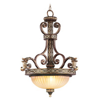 Livex Lighting Seville 3 Light Inverted Pendant in Palacial Bronze with Gilded Accents 8548-64