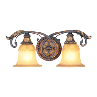 Villa Verona 2 Light 19 inch Verona Bronze with Aged Gold Leaf Accents Bath Light Wall Light