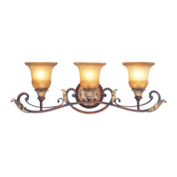 Villa Verona 3 Light 30 inch Verona Bronze with Aged Gold Leaf Accents Bath Light Wall Light
